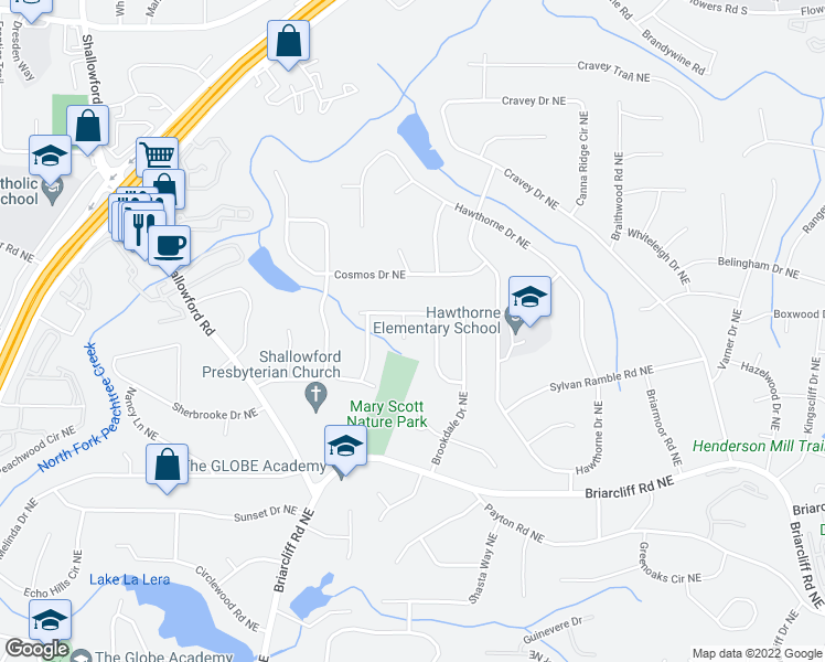 map of restaurants, bars, coffee shops, grocery stores, and more near 2527 Foster Ridge Court Northeast in Atlanta