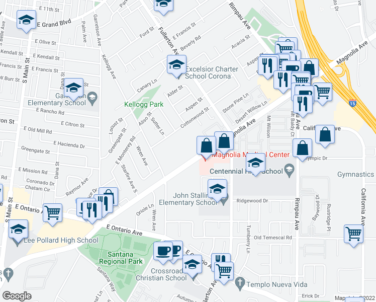 map of restaurants, bars, coffee shops, grocery stores, and more near 801 Magnolia Avenue in Corona
