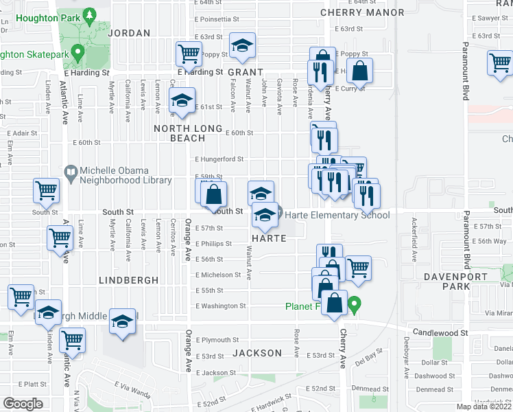 map of restaurants, bars, coffee shops, grocery stores, and more near 1615 East South Street in Long Beach