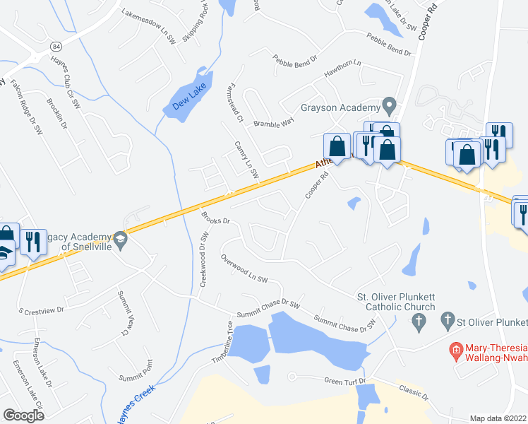 map of restaurants, bars, coffee shops, grocery stores, and more near 2952 Mell Rise Way in Snellville
