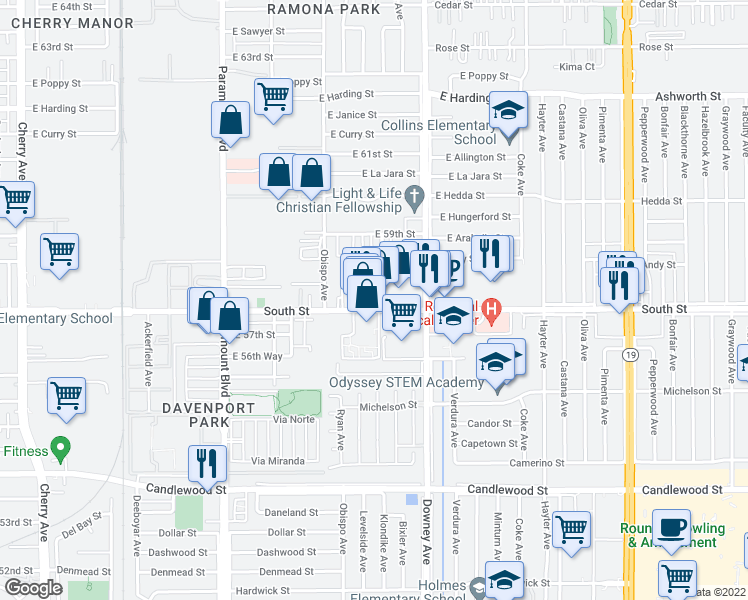map of restaurants, bars, coffee shops, grocery stores, and more near 3255 East South Street in Long Beach