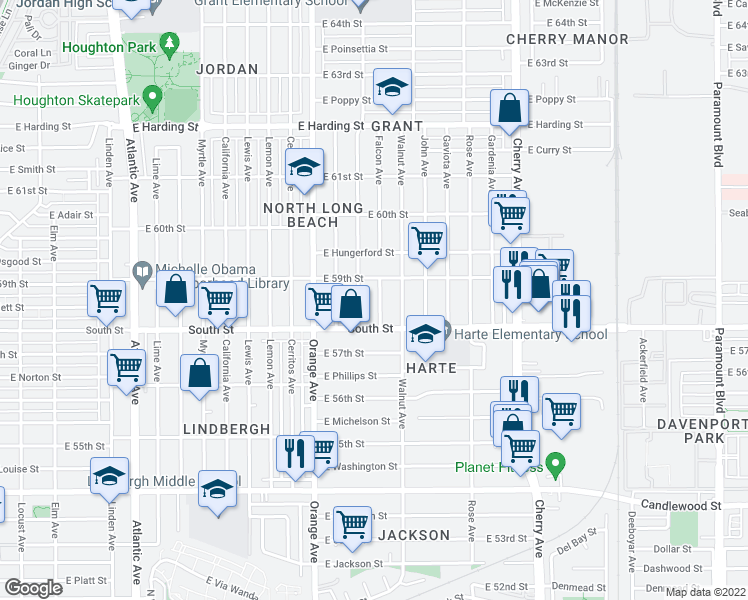 map of restaurants, bars, coffee shops, grocery stores, and more near 5853 Falcon Avenue in Long Beach