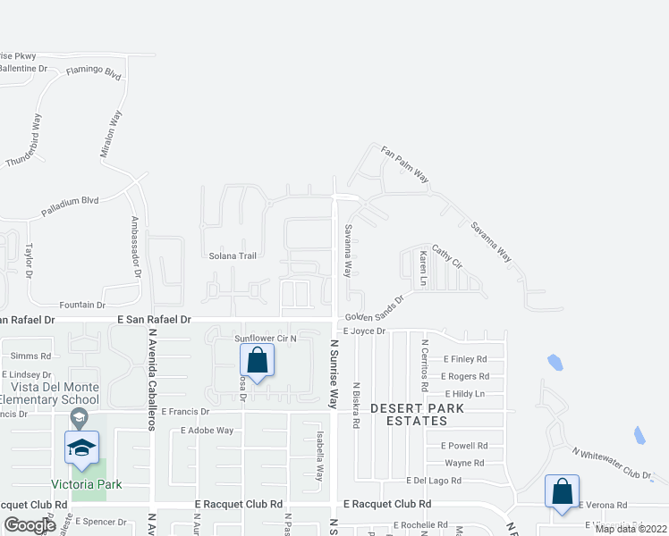 map of restaurants, bars, coffee shops, grocery stores, and more near 3449-3467 Savanna Way in Palm Springs