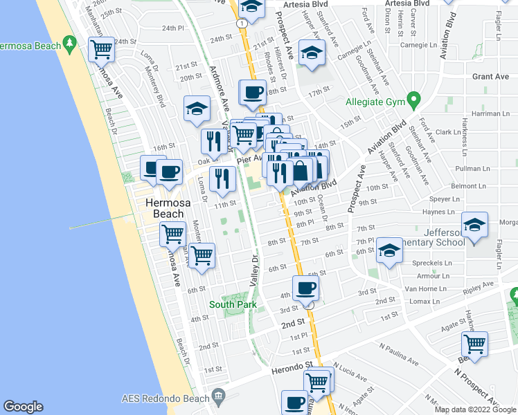 map of restaurants, bars, coffee shops, grocery stores, and more near 625 10th Street in Hermosa Beach