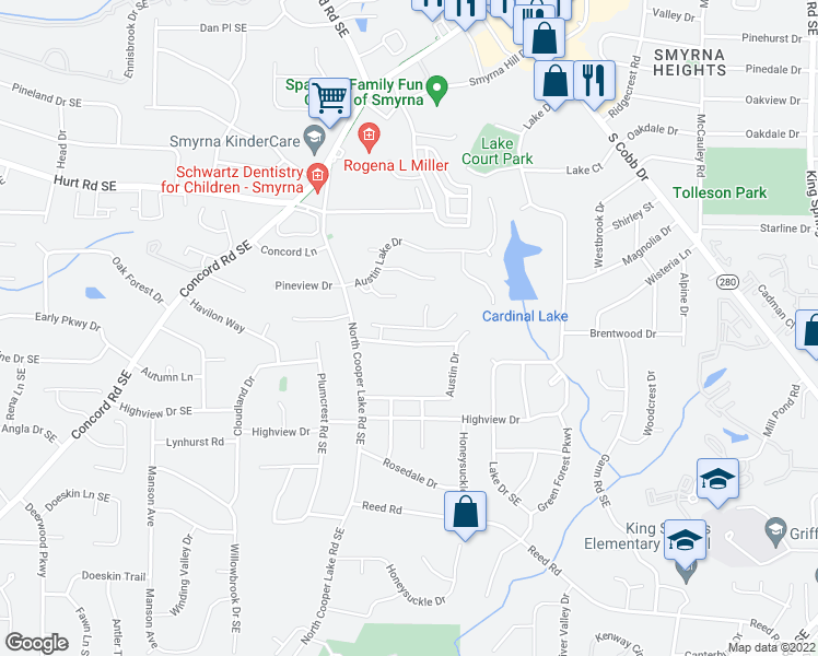 map of restaurants, bars, coffee shops, grocery stores, and more near Grace Meadows Lane Southeast in Smyrna