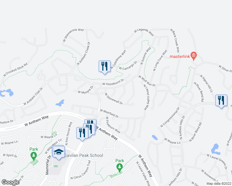 map of restaurants, bars, coffee shops, grocery stores, and more near 41723 North Maidstone Court in Anthem