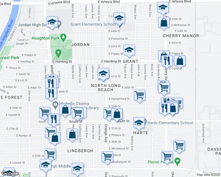 map of restaurants, bars, coffee shops, grocery stores, and more near 1320 East 60th Street in Long Beach