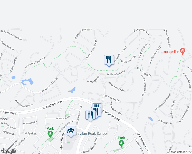 map of restaurants, bars, coffee shops, grocery stores, and more near 2428 West Myopia Drive in Anthem