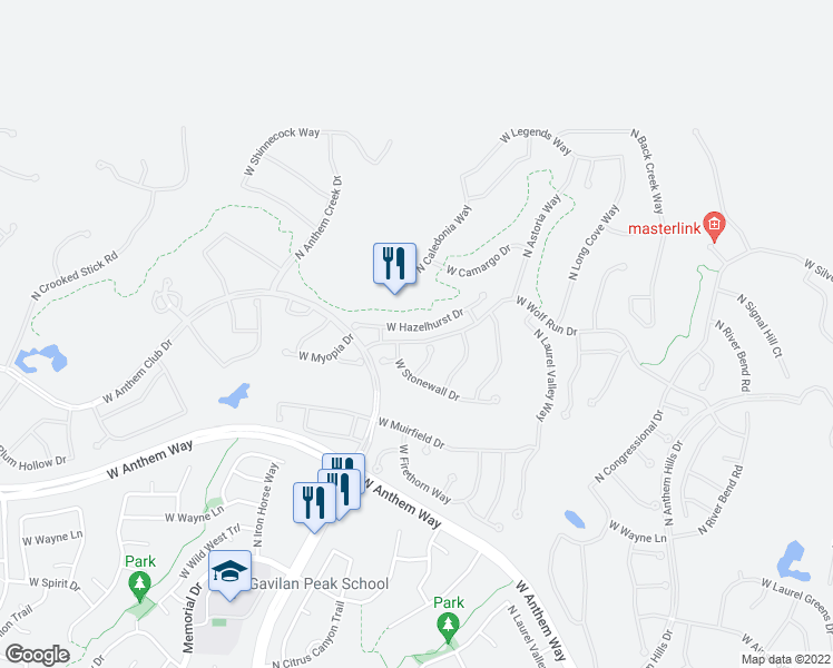 map of restaurants, bars, coffee shops, grocery stores, and more near 2315 West Hazelhurst Drive in Anthem
