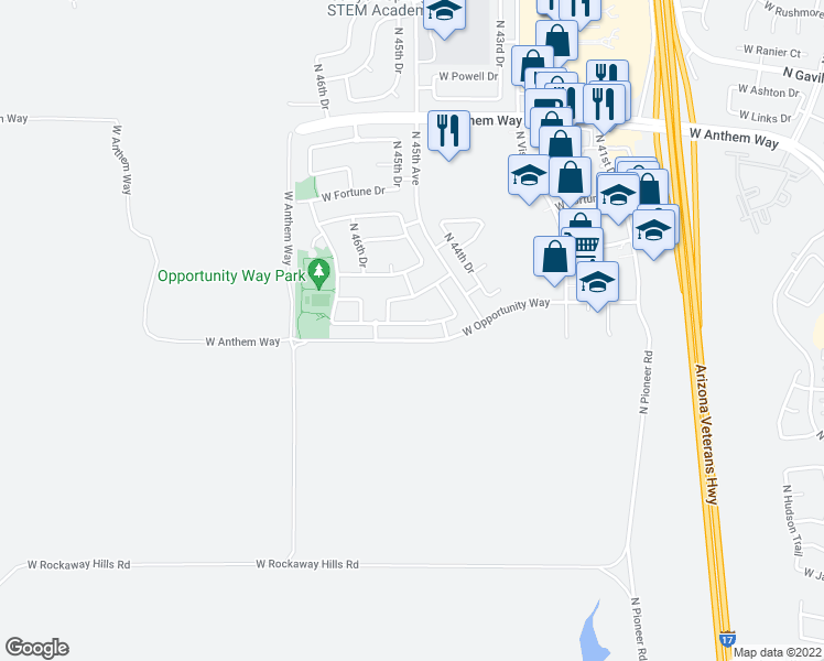 map of restaurants, bars, coffee shops, grocery stores, and more near 4551 West Cottontail Road in Phoenix