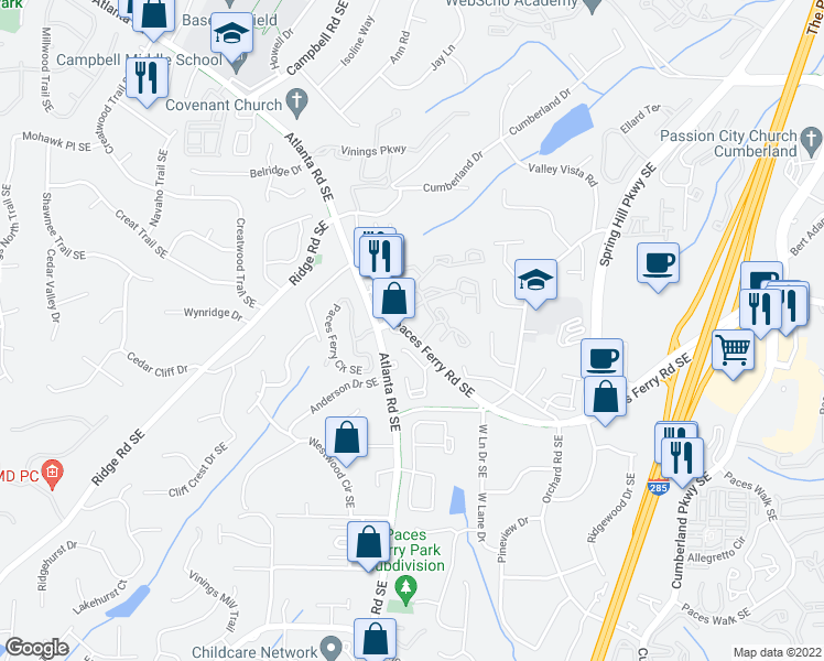 map of restaurants, bars, coffee shops, grocery stores, and more near 2185 Paces Ferry Road Southeast in Smyrna