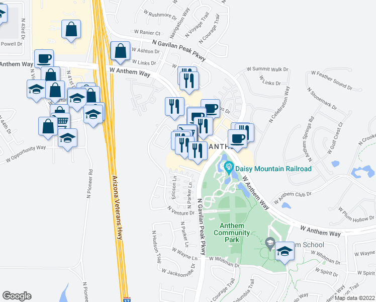 map of restaurants, bars, coffee shops, grocery stores, and more near 3655 West Anthem Way in Anthem