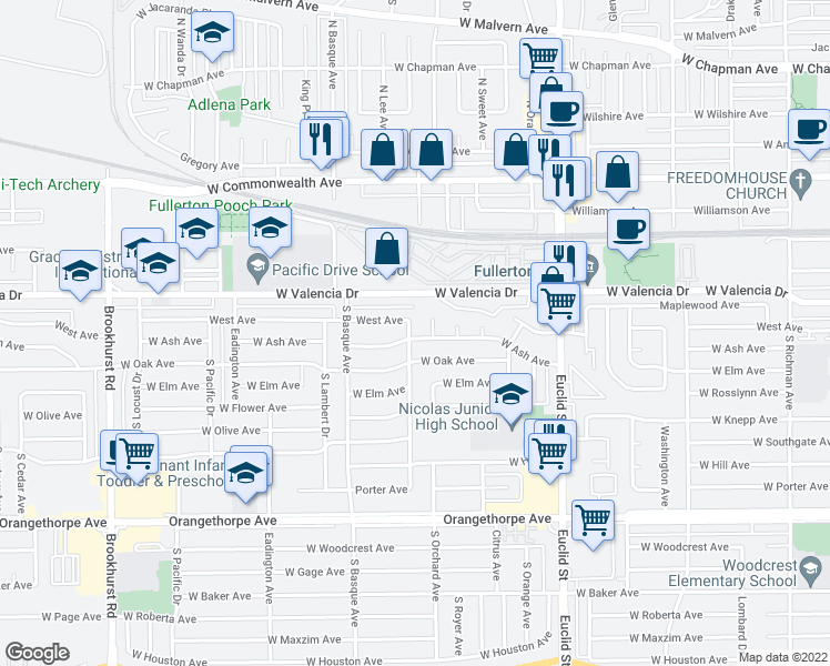 map of restaurants, bars, coffee shops, grocery stores, and more near 618 South Lee Avenue in Fullerton