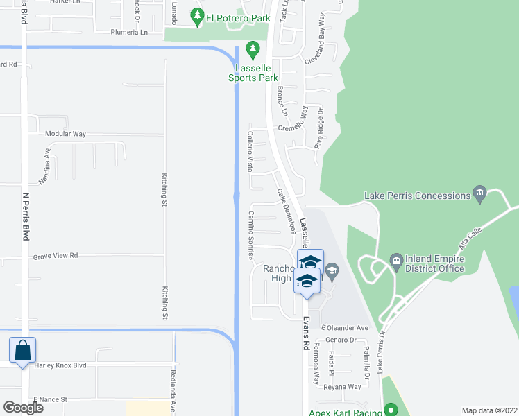 map of restaurants, bars, coffee shops, grocery stores, and more near 25944 Avenida Classica in Moreno Valley