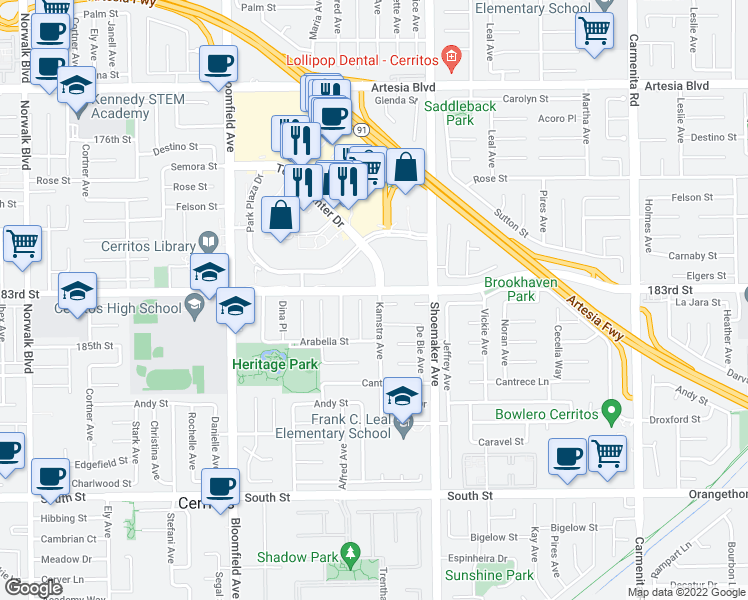 map of restaurants, bars, coffee shops, grocery stores, and more near 18307 Kamstra Avenue in Cerritos