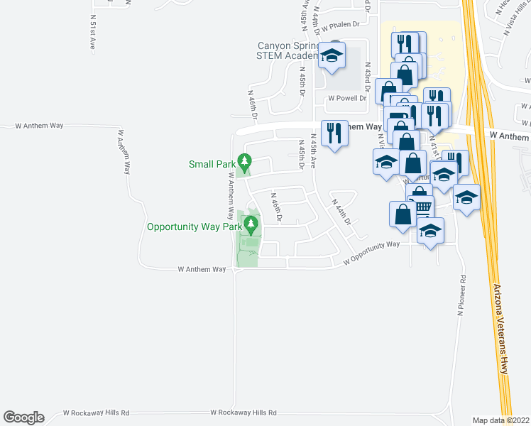 map of restaurants, bars, coffee shops, grocery stores, and more near 42123 North 46th Lane in Phoenix