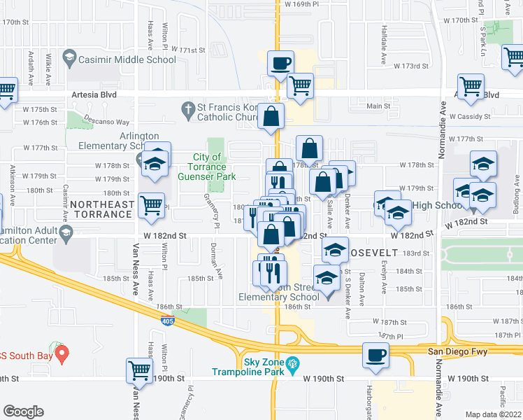 map of restaurants, bars, coffee shops, grocery stores, and more near 18012 Manhattan Place in Torrance