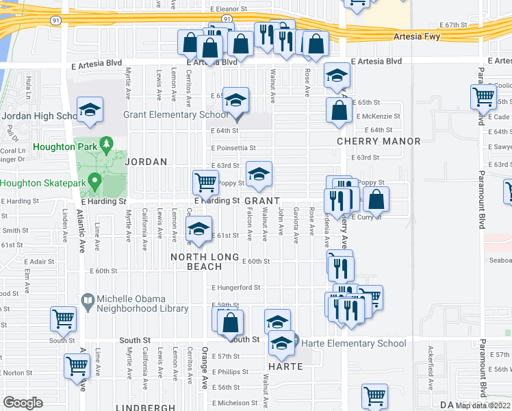 map of restaurants, bars, coffee shops, grocery stores, and more near 1514 E Harding St in Long Beach