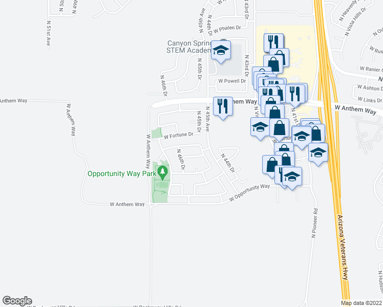 map of restaurants, bars, coffee shops, grocery stores, and more near 4522 West Ravina Lane in Phoenix
