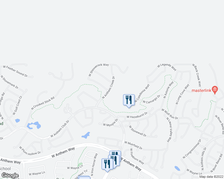 map of restaurants, bars, coffee shops, grocery stores, and more near 42207 North Anthem Creek Drive in New River