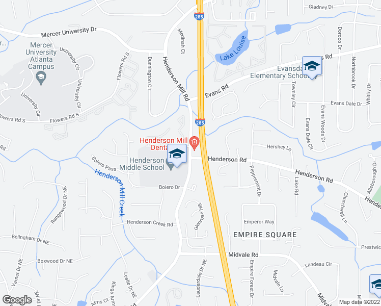 map of restaurants, bars, coffee shops, grocery stores, and more near 2853-2855 Henderson Mill Road in Atlanta