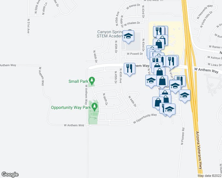 map of restaurants, bars, coffee shops, grocery stores, and more near 4520 West Venture Court in Phoenix