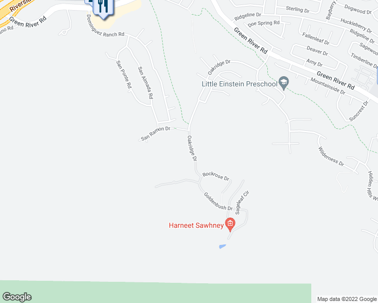 map of restaurants, bars, coffee shops, grocery stores, and more near 1816 Oakridge Drive in Corona