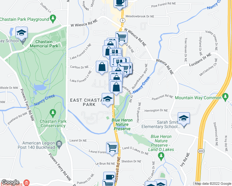 map of restaurants, bars, coffee shops, grocery stores, and more near 4011 Roswell Road in Atlanta