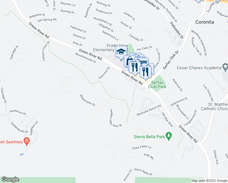 map of restaurants, bars, coffee shops, grocery stores, and more near 1400 Baldy View Circle in Corona