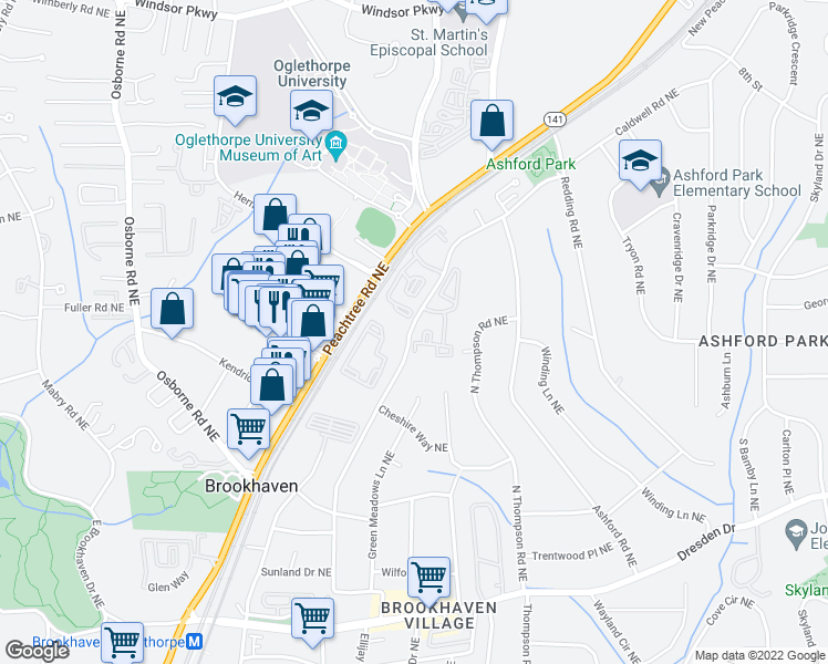 map of restaurants, bars, coffee shops, grocery stores, and more near 2800-2858 Caldwell Road Northeast in Atlanta