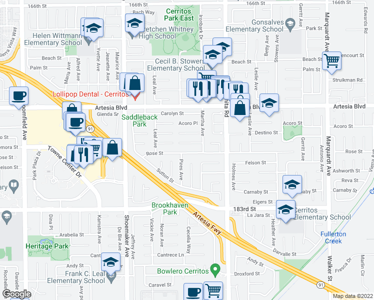 map of restaurants, bars, coffee shops, grocery stores, and more near 13229 Rose Street in Cerritos