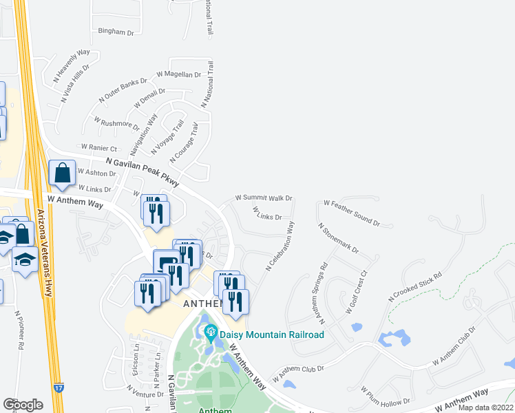 map of restaurants, bars, coffee shops, grocery stores, and more near 3376 W Links Dr in Anthem