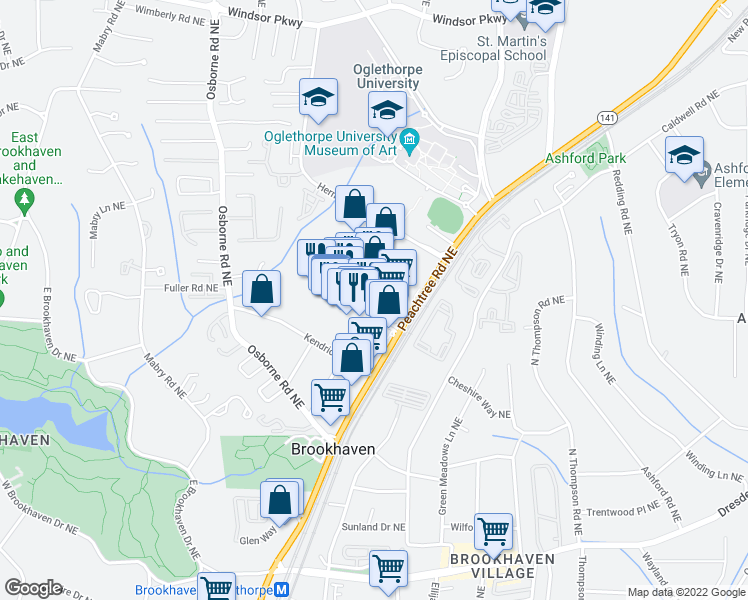 map of restaurants, bars, coffee shops, grocery stores, and more near 305 Brookhaven Avenue in Atlanta