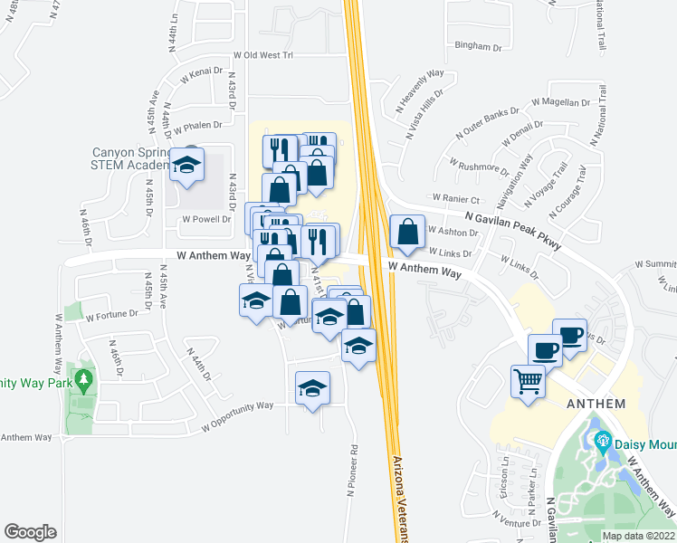 map of restaurants, bars, coffee shops, grocery stores, and more near 4115 West Anthem Way in Phoenix