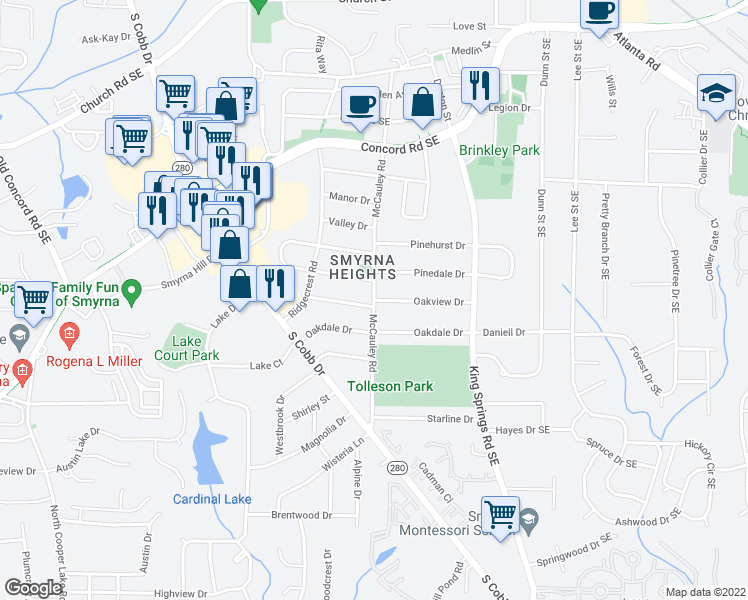 map of restaurants, bars, coffee shops, grocery stores, and more near Oakview Drive in Smyrna