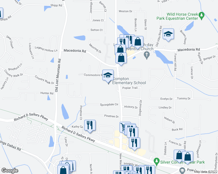map of restaurants, bars, coffee shops, grocery stores, and more near 4266 Springdale Circle in Powder Springs