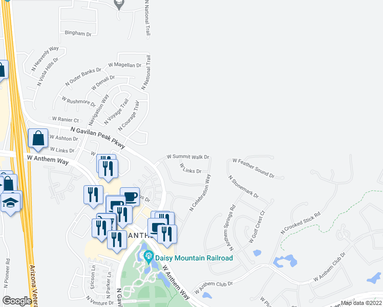 map of restaurants, bars, coffee shops, grocery stores, and more near 3342 West Summit Walk Drive in New River