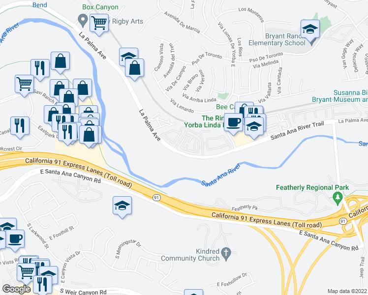 map of restaurants, bars, coffee shops, grocery stores, and more near 6060 Old Village Road in Yorba Linda