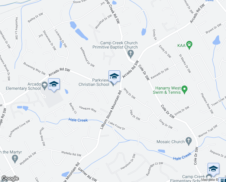 map of restaurants, bars, coffee shops, grocery stores, and more near 4905-4931 Lilburn Stone Mountain Road in Lilburn