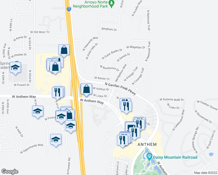 map of restaurants, bars, coffee shops, grocery stores, and more near 3812 West Ashton Drive in Phoenix