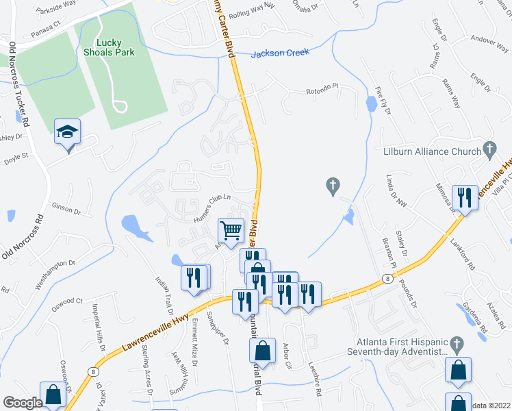 map of restaurants, bars, coffee shops, grocery stores, and more near 4209-4265 Jimmy Carter Boulevard in Norcross