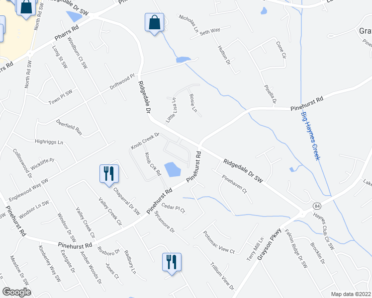 map of restaurants, bars, coffee shops, grocery stores, and more near 2297 Knob Creek Drive in Snellville