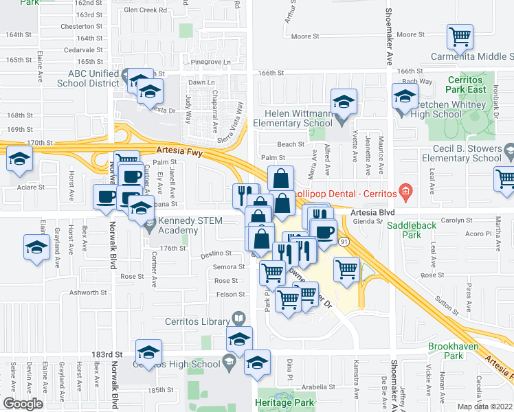 map of restaurants, bars, coffee shops, grocery stores, and more near 12611 Artesia Boulevard in Cerritos