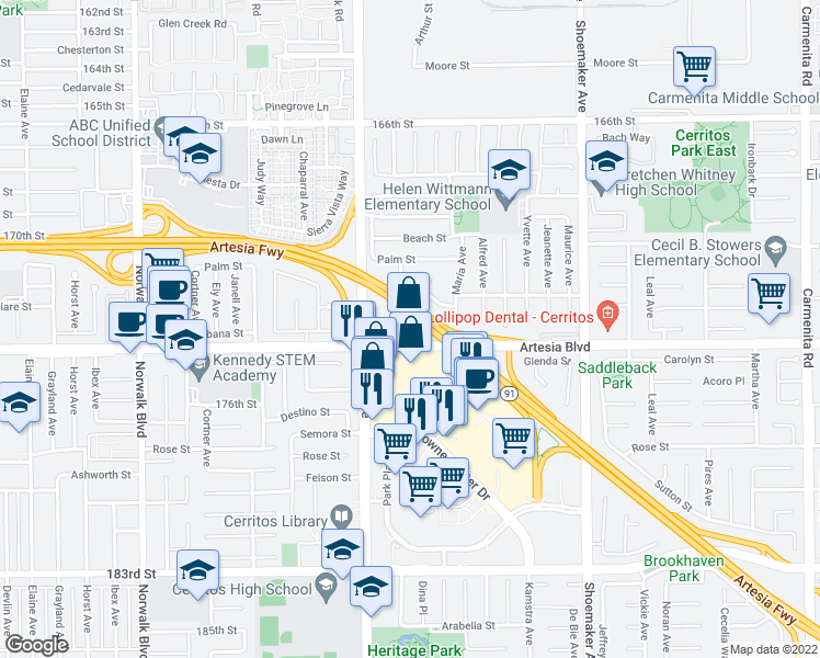 map of restaurants, bars, coffee shops, grocery stores, and more near 12651 Artesia Boulevard in Cerritos