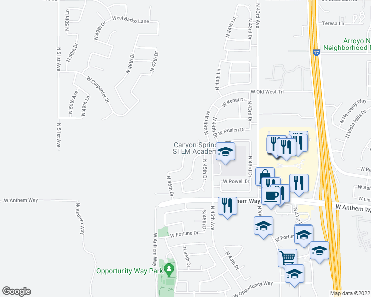 map of restaurants, bars, coffee shops, grocery stores, and more near 4536 West Judson Drive in Phoenix