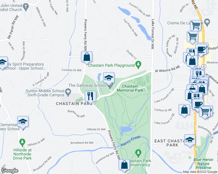 map of restaurants, bars, coffee shops, grocery stores, and more near 216 West Wieuca Road Northwest in Atlanta