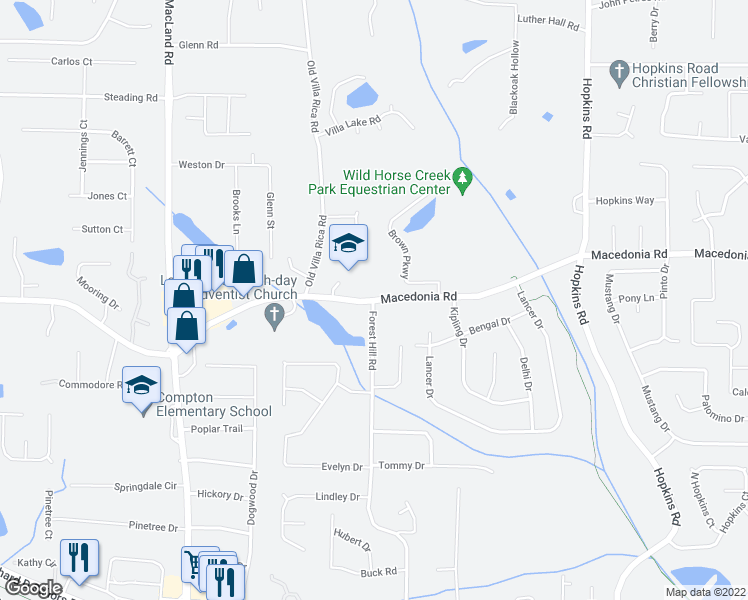 map of restaurants, bars, coffee shops, grocery stores, and more near 3301 Forest Hill Road in Powder Springs