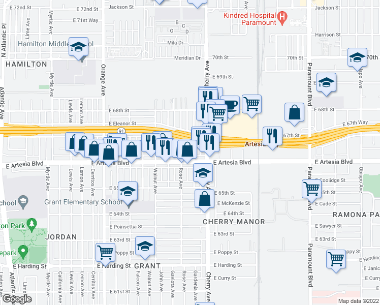 map of restaurants, bars, coffee shops, grocery stores, and more near 6625 Gardenia Avenue in Long Beach