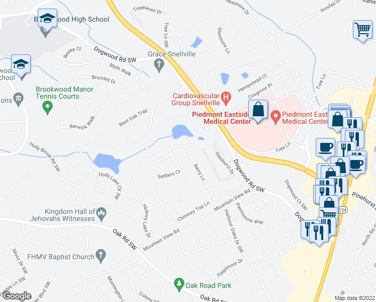 map of restaurants, bars, coffee shops, grocery stores, and more near Berry Lane in Snellville