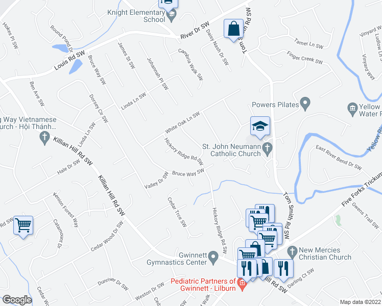 map of restaurants, bars, coffee shops, grocery stores, and more near 694 Hickory Ridge Road Southwest in Lilburn